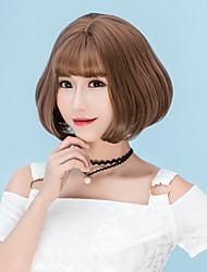 Mujer Pelucas sintéticas Sin Tapa Corto Liso Lino Castaño Ceniza marrón Marrón Gris Corte Bob Con flequillo Peluca natural Peluca de