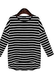 Tee-shirt Femme,Rayé simple Manches Longues Col en U Coton