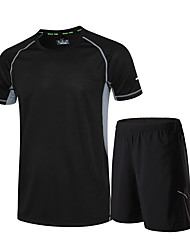 Men's Women's Running T-Shirt with Shorts Short Sleeves Quick Dry Running Clothing Suits for Running/Jogging Exercise & Fitness Black
