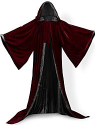 Wizard Robe Coat Cosplay Costumes Cloak Witch Broom Burgundy Velvet/Black Satin Halloween Party Costume Heroes Bat Witch Queen Ghost Zombie Vampire