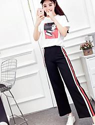 Mujer Simple Casual/Diario Verano T-Shirt Pantalón Trajes,Escote Redondo A Rayas Estampado Manga Corta