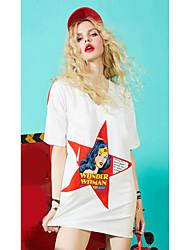 Damen Solide Druck Niedlich Alltag Normal T-shirt,V-Ausschnitt Halbe Ärmel Baumwolle Viskose