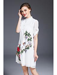 Ample Robe Femme Sortie Décontracté / Quotidien Vintage Chinoiserie,Fleur Col de Chemise Au dessus du genou Demi Manches Polyester