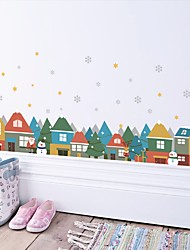 Wall Stickers Wall Decas Style Christmas House Snowman PVC Wall Stickers