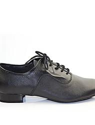 Men's Modern Real Leather Pigskin Heels Practice Black