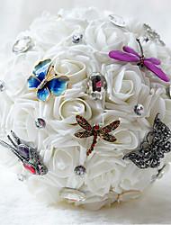 Fleurs de mariage Bouquets Cérémonie de mariage Mousseline de soie Perle Env.21cm