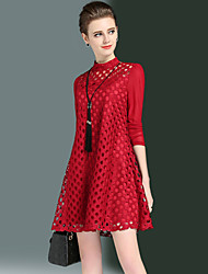 Women's Plus Size Going out Sexy Simple A Line Loose Dress Lace Patchwork Cut Out Round Neck Above Knee Long Sleeve Spring Fall Red Black