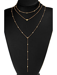 Women's Simple Multi Layer Beads Chain Choker Necklace with Tiny Heart Pendant-Gold