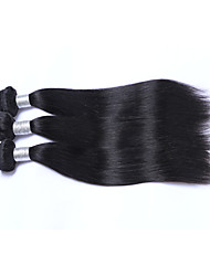 Fashion and Affordable Short Size 3Bundles 300g Brazilian Human Hair Wefts 100% Unprocessed Natural Black Straight Human Hair Weaves 130% Density