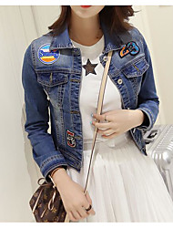 Women's Daily Modern/Comtemporary Spring Fall Denim Jacket,Solid Shirt Collar Long Sleeve Short Cotton Others