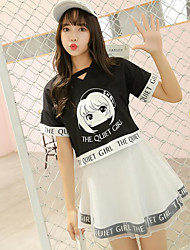 Mujer Simple Diario Verano T-Shirt Falda Trajes,Escote Redondo Refranes y citas Manga Corta Microelástico