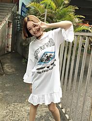 Mujer Corte Ancho Recto Vestido Deportes Noche Casual/Diario Simple Chic de Calle Activo,Un Color Patrón Escote Redondo Sobre la rodilla