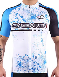 CYCEARTH Cycling Jersey Men's Short Sleeve Bike Jersey Bicycle MTB Sport Shirt Wear Clothing Clothes Breathable Lightweight 100% Polyester