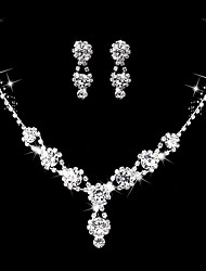 Women's Drop Earrings Choker Necklaces Bridal Jewelry Sets Rhinestone AAA Cubic Zirconia Vintage Elegant Jewelry For Wedding Engagement Party