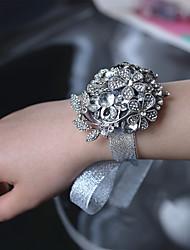 """Fleurs de mariage Petit bouquet de fleurs au poignet Cérémonie de mariage Métal 1.97""""(Env.5cm)"""