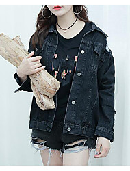 Women's Daily Modern/Comtemporary Spring Denim Jacket,Print Letter Shirt Collar Long Sleeve Long Others