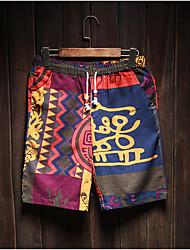 Homme Vintage simple Taille médiale Micro-élastique Culotte Pantalon,Large Carreaux Bandes Fleur Rayé Fleur arbres/Feuilles