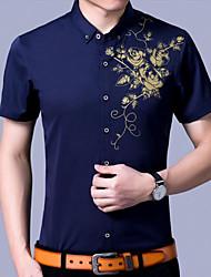 Camicia Da uomo Quotidiano Casual Semplice Fantasia floreale Colletto italiano visibile Cotone Manica corta