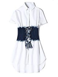 Для женщин На каждый день Лето Рубашка Брюки Костюмы На бретелях,Простой С принтом Рукав ½ Слабоэластичная