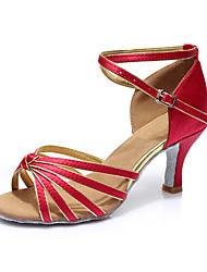 Women's Latin Silk Sandals Indoor Customized Heel Fuchsia Customizable