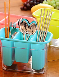 Transparent Plastic Three Grid Multi - functional Tableware Spoon Storage Box Random Color