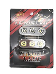 1 пара универсальный светодиодный стробоскоп белого цвета для использования в автомобиле / мотоциклах