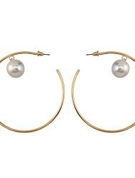 Drop Earrings Women's Euramerican Fashion 2 Colors Silver Gold Alloy Pearl Pendant Stud Ear Round Earrings For Women Charm Jewelry