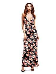 Women's Going out Sexy Street chic Loose Dress,Pattern V Neck Maxi Sleeveless Cotton Spring Summer Mid Rise Micro-elastic Thin