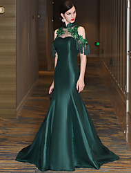 Mermaid / Trumpet Illusion Neckline Court Train Lace Satin Tulle Mikado Formal Evening Dress with Flower(s) Lace Bandage Sequins Tassel(s)