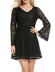 Women's Party Going out Club Sexy Simple Street chic Lace Hollow Out Sheath DressSolid Simple V-neck Mini Long Flare Sleeve Spring SummerMid