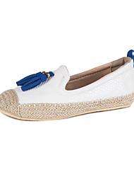 Women's Flats Formal Shoes Comfort PU Fall Casual Office & Career Dress Walking Formal Shoes Comfort Tassel Flat Heel Black WhiteUnder