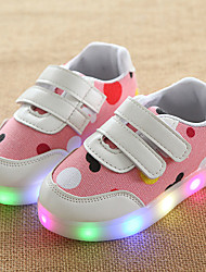 Girls' Sneakers Light Up Shoes Spring Summer Fall Leather Tulle Walking Shoes Casual Outdoor Magic Tape LED Low Heel Light Grey Blue