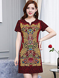 Women's Casual/Daily A Line Dress,Print Round Neck Above Knee Short Sleeve Cotton Summer Low Rise Micro-elastic Thin