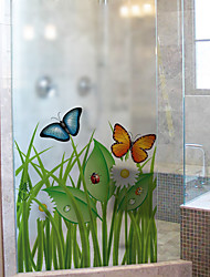Window Film Window Decals Style Butterfly in The Grass PVC Window Film