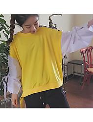 Mujer Sudadera Diario Casual Un Color A Rayas Patrón Color puro Escote Redondo Forro de Lana Microelástico Poliéster Mezcla de Algodón