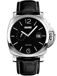 Men's Fashion Watch Wrist watch Quartz Calendar Water Resistant / Water Proof Large Dial Genuine Leather Band Black