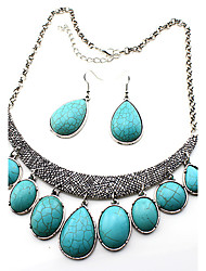 Women's Jewelry Set Drop Earrings Pendant Necklaces Turquoise Basic Unique Design Dangling Style Pendant Natural Stone Statement Jewelry