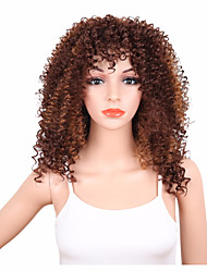 Naturally Brown Color African American Hair Heat Resistant Culry Fashion Capless Wig High Quality Beauty Girls