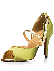 "Women's Latin Silk Sandals Performance Buckle Stiletto Heel Green/Yellow 3"" - 3 3/4"" Customizable"