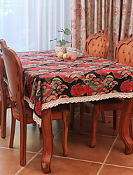 Japanese National Wind Cherry Fan Cotton And Linen Table Cloth 120*120cm