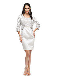 LAN TING BRIDE Sheath / Column Mother of the Bride Dress - Two Pieces Short / Mini Half Sleeve Satin with Pleats