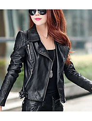 Women's Daily Casual Casual Active Spring/Fall Leather Jacket,Solid Notch Lapel Long Sleeve Regular Cotton Polyester