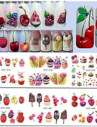 15Styles/set Summer Hot Fashion Nail Art Water Transfer Decals Sweet Style Ice Cream Fruit Design Nail Art Creative Decoration DIY Sticker STZ474-488
