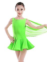 Dança Latina Vestidos Mulheres Apresentação Fibra Sintética Tule Penas 1 Peça Sem Mangas Alto Vestidos