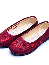 Femme Mocassins et Chaussons+D6148 Confort Semelles Légères Tissu Printemps Automne Décontracté Confort Semelles Légères Fleur Talon Plat