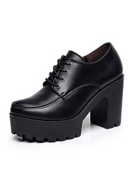 Women's Heels Formal Shoes Spring Fall Real Leather Casual Office & Career Lace-up Chunky Heel Platform Black 3in-3 3/4in