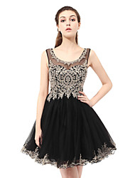 Princess Scalloped Short / Mini Lace Tulle Cocktail Party Dress with Appliques
