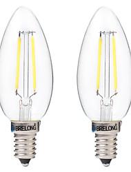 2W Lampadine LED a incandescenza C35 2 COB 200 lm Bianco caldo Bianco Decorativo AC 220-240 V 2 pezzi