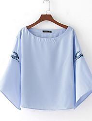 Damen Druck Einfach Alltag T-shirt,Rundhalsausschnitt Langarm Baumwollmischung