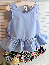 Girl's Fashion And Lovely Temperament Back Bow sundress  Floral Shorts Two-Piece Dress